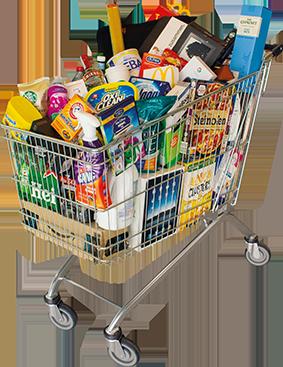 Ein Einkaufswagen voller Markenprodukte.
